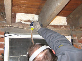 an air leak from the basement to the attic is sealed tight